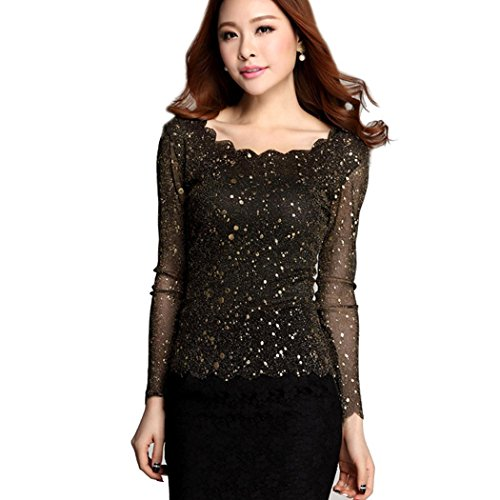 Women Sexy Slim Gauze Long Sleeve see through Party Evening Tops ... ace8c9c1f