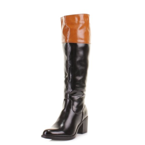 womens block heel black collar knee high boots size 5