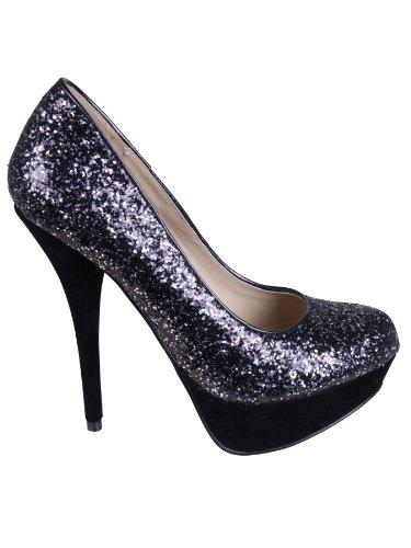 b86bbac6201 Women's Fashion Stiletto High Heel Platform Two Tone Glitter Round Toe  Party Court Shoes Black 5