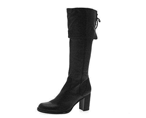 womens faux leather knee high length boots block heels