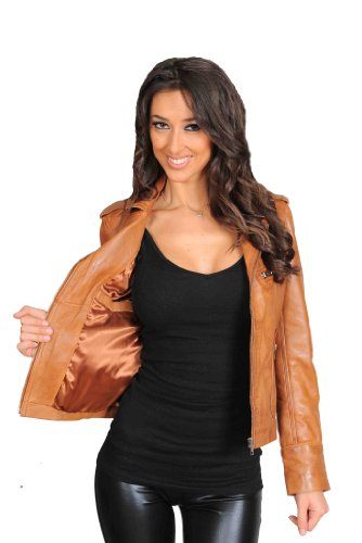 Womens Fitted Biker Real Leather Jacket Ladies Motorcycle