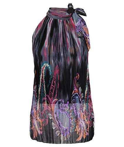 Womens Floral Paisley Pleated Chiffon Bow Tie HalterNeck Top Blouse ... 1a6157926