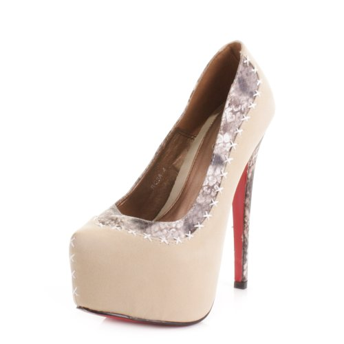 womens high heel platform snakeskin stitch shoes size 4