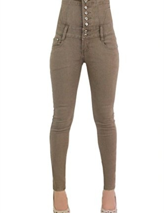 womens high waisted skinny leg chocolate brown mud brown