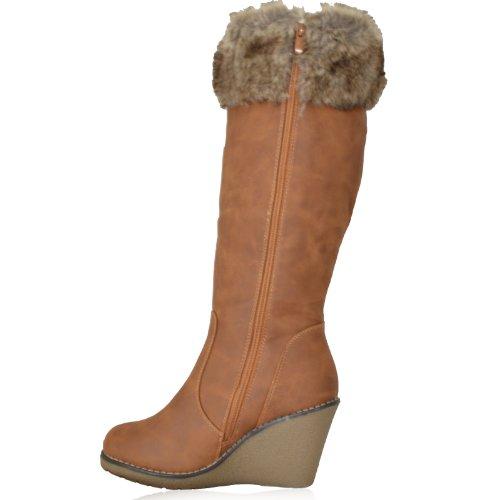 womens ladies blacktan wedge heel knee high winter fur