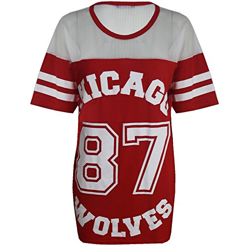 3639060de416f ... T Shirt Dress Long Top. Womens-Ladies-Chicago-87-Wolves-Baggy-Oversize- Baseball-