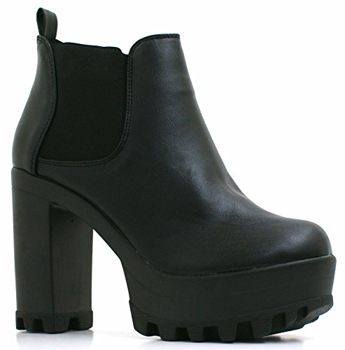 Womens Ladies Faux Leather Chunky High Heel Cleated Grip