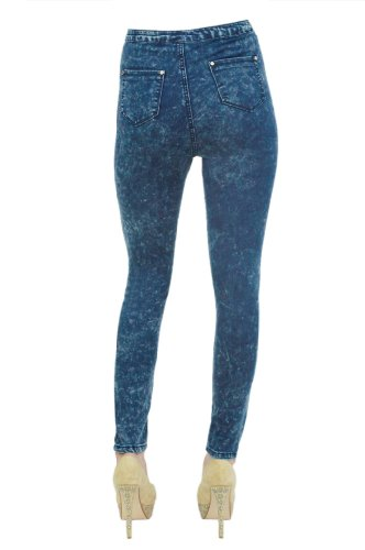 Womens Ladies High Waist Jegging Jeans Blue Acid Wash