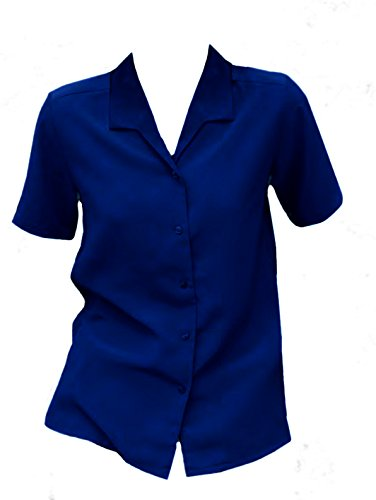 Womens Ladies Short Sleeve Blouse Shirt Button Up Woven