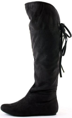 a615995855b Womens Ladies Thigh High Slouch Flat Biker Style Low Heel Over Knee ...