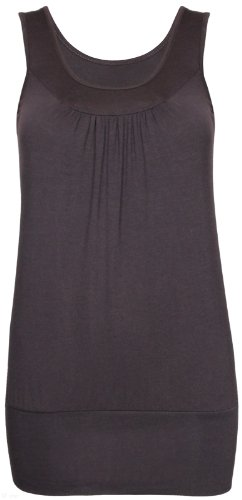 Womens Plain Casual Ruched Gathered Long Sleeveless Ladies