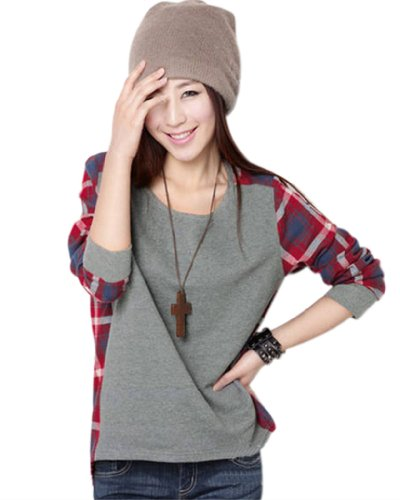 Women 39 s red plaid grid pattern gray loose long sleeve t for Grey plaid shirt womens