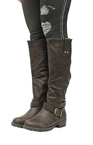 Womens Riding Biker Ladies Leather Style Low Heel Zip Knee