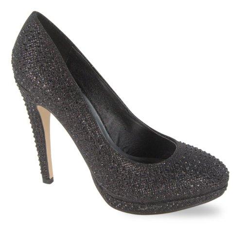 black glitter court shoes uk