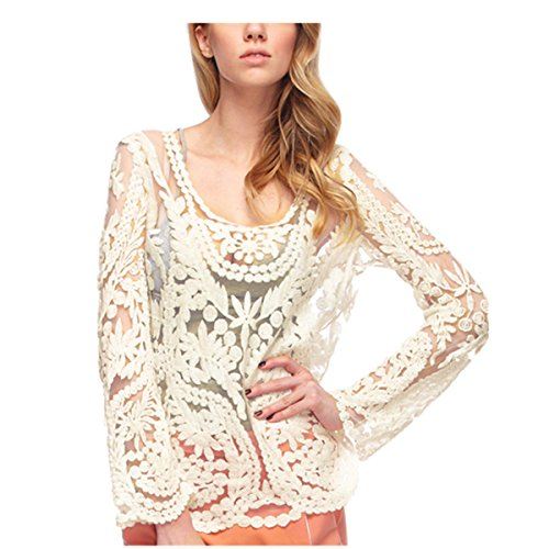 41a6d378483a8b Womens Sexy Semi Sheer Sleeve Embroidery Floral Lace Crochet Top ...