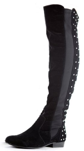 Womens Thigh High Over Knee Flat Stretch Low Heel Wide
