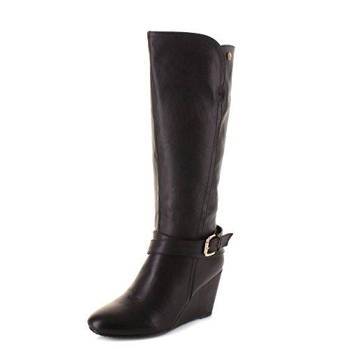 a2f53e043ea Womens Xti 27276 Black Wedge heel Knee High Ladies Smart Leather ...