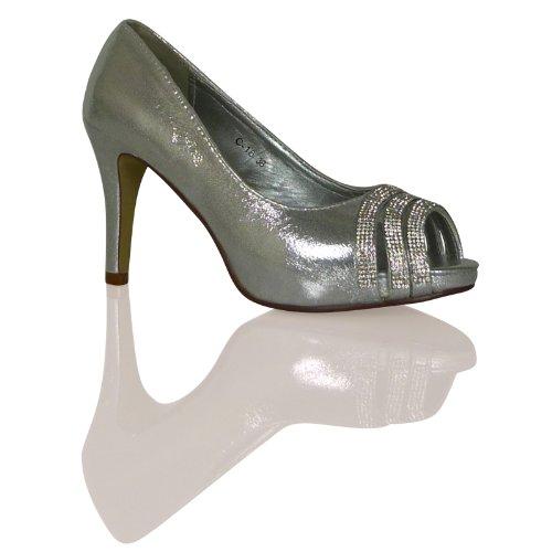 Y2c Womens Ladies Mid High Heel Wedding Bridal Stiletto
