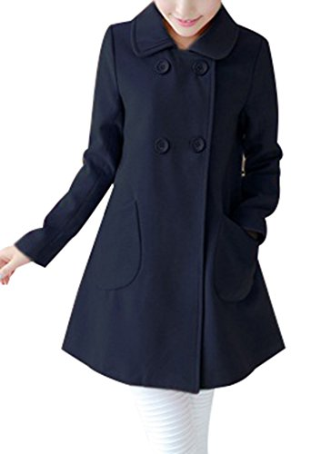 8f0440e75e6f Yasong Women s Girl s Candy Color Double Breasted Faux Wool Coat ...
