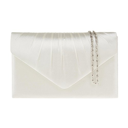 Zarla New Women Pleated Satin Diamante Clutch Bridal Party Prom Ladies Evening Bags UK Ivory ...